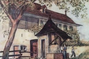 Peinture du 19ème façade sud et ancien puit