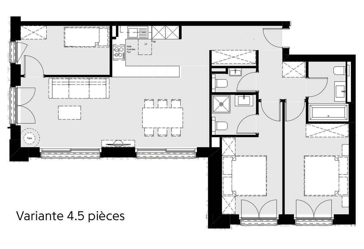 Plan de l'appartement 03 - Tête Blanche