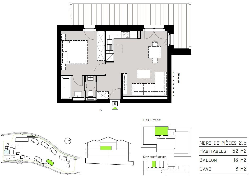 Plan de l'appartement 05 - Tête Blanche