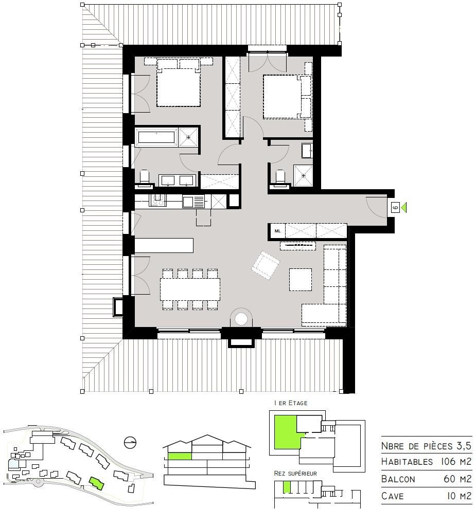 Plan de l'appartement 06 - Tête Blanche
