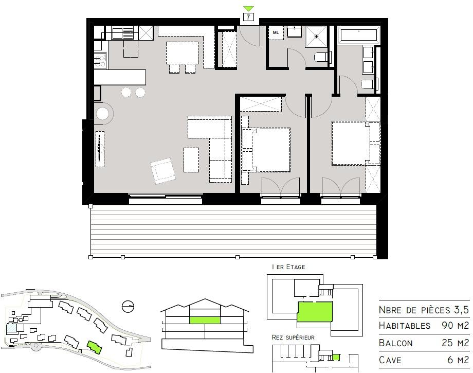 Plan de l'appartement 07 - Tête Blanche