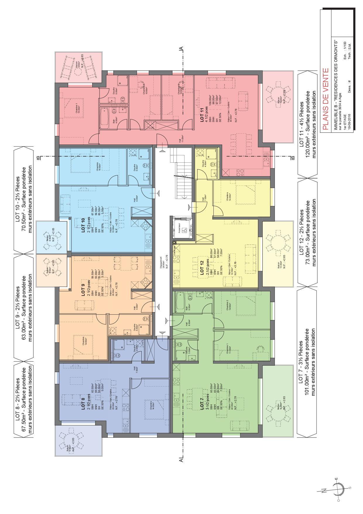 Plan 1er étage (lot 7 à 12)