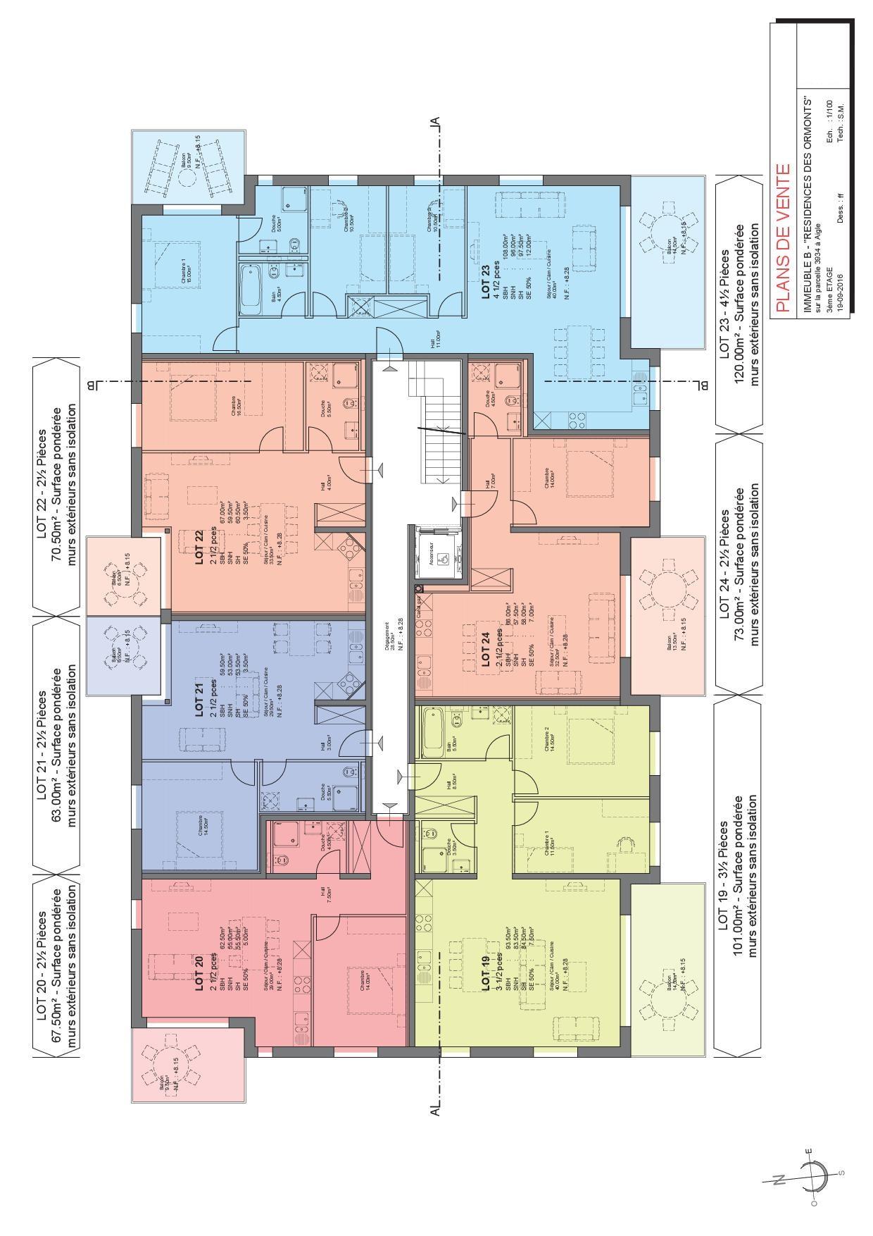 Plan 3e étage (lot 19 à 24)