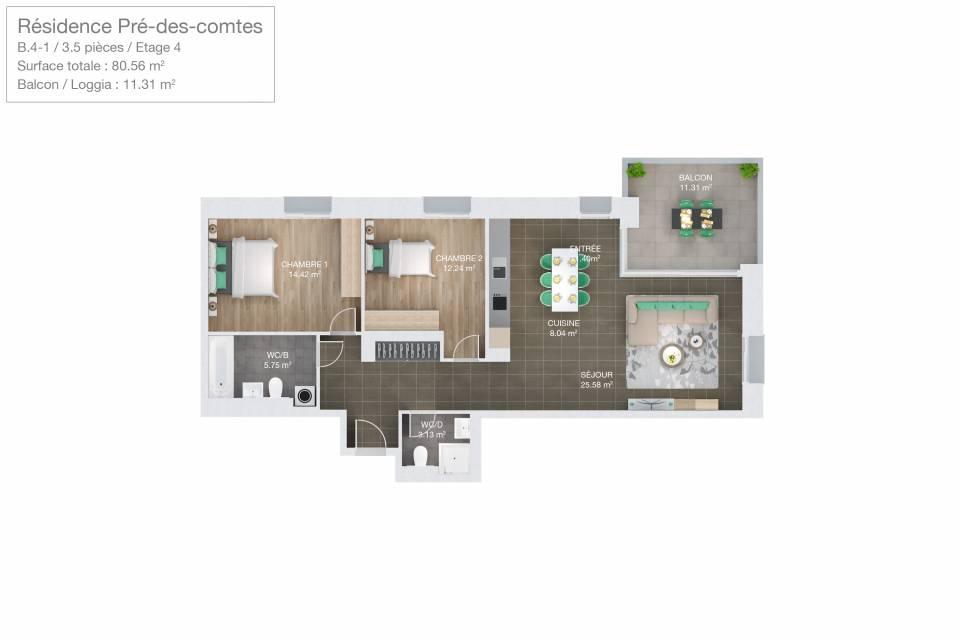 Appartement 3.5 pièces à Romont FR