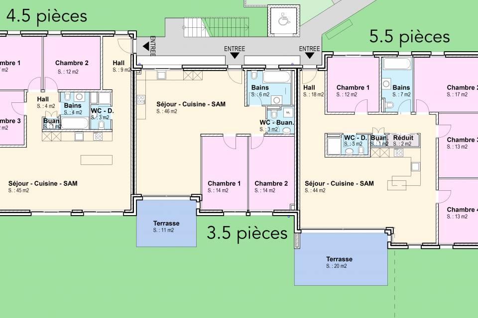 Fontaines NE / Appartement de 4.5 pièces