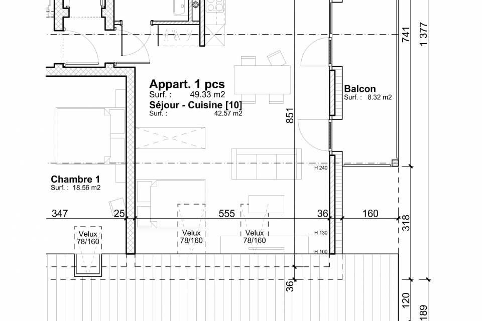 Mannens / Appartement de 1 pièces