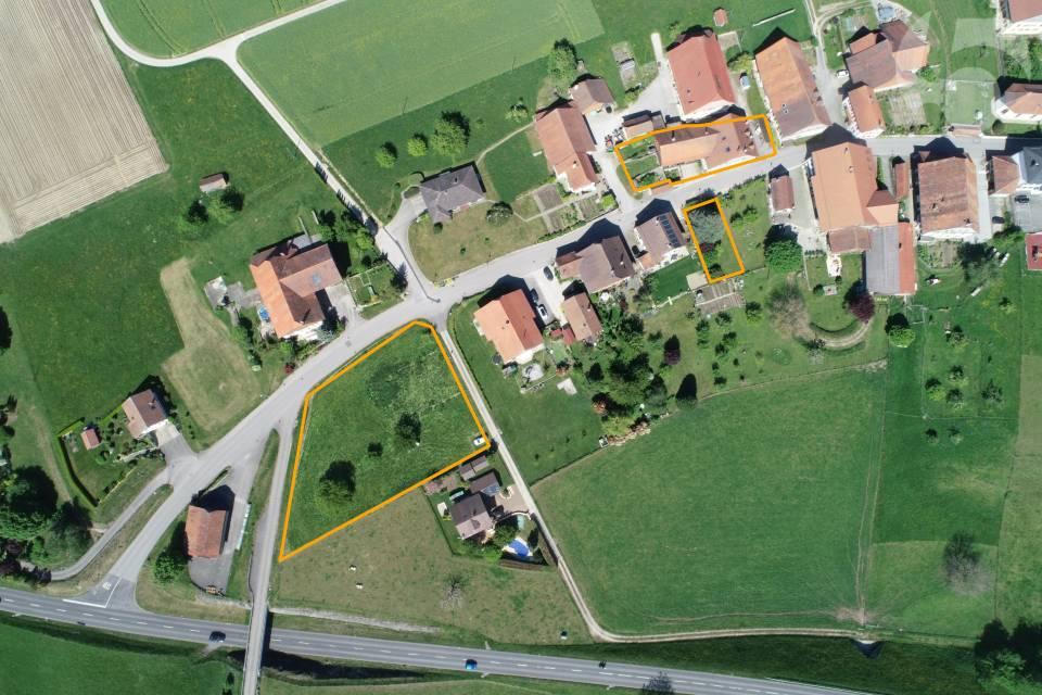 Vue aérienne des 3 parcelles