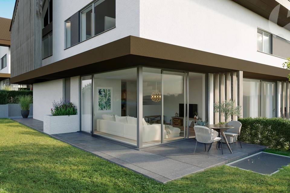 Terrasse-jardin d'une villa d'angle (lot C5)