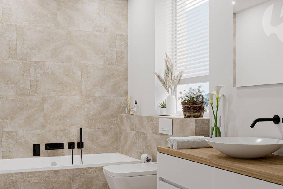 Salle de bain étage, villa d'angle, 5 m2