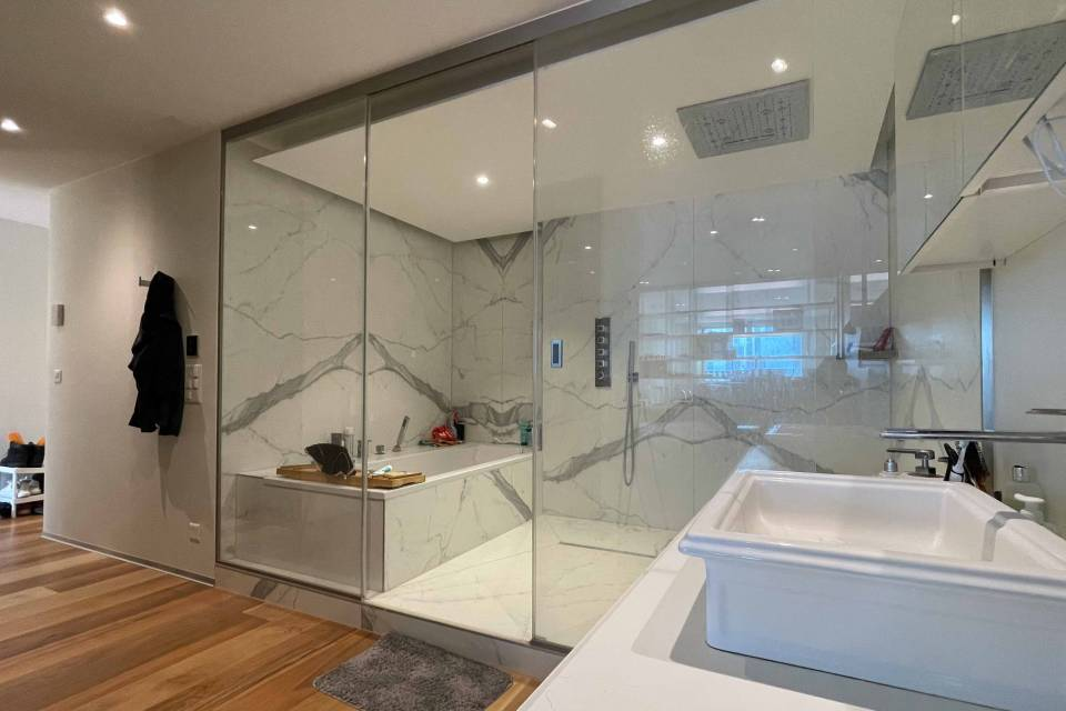 Shower room with laundry column